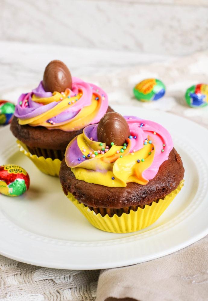 Hidden Cadbury Egg Cupcakes