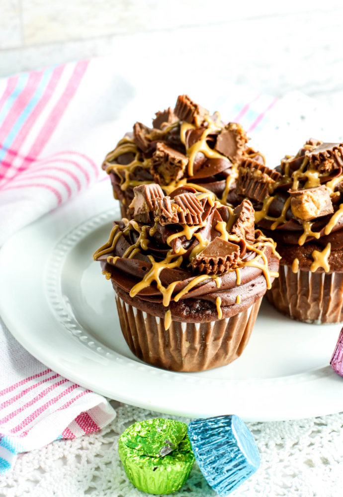 Hidden Reeses Egg Cupcakes